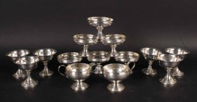 Six Sterling Silver Weighted Sherbets