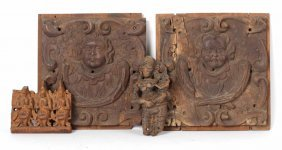 Two Carved Wood Classical Wall Plaques