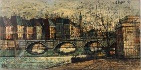 Oil On Canvas, French Bridge Scene