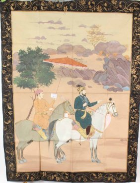 Painted Wall Hanging, Japanese Warrior On Horse