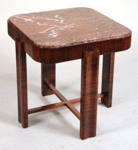 Art Deco Marble-top Mahogany Occasional Table
