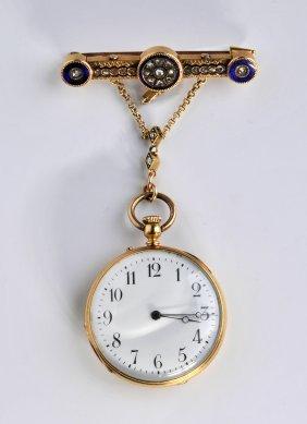 18kt Gold Brooch Pocket Watch, Rossel & Fils Geneve