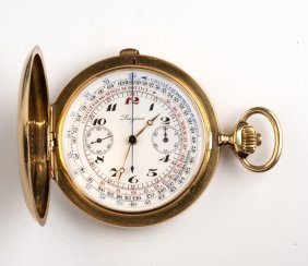 Solid 18k Gold Chronograph Hunter Pocket Watch,