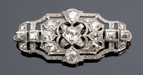 Platinum And Diamond Art Deco Pendant Brooch,