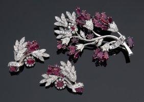 Massoni, Rome - 18k Gold Ruby And Diamond Demi-parure