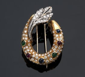 18k Gold, Ruby Sapphire Emerald Diamond Brooch
