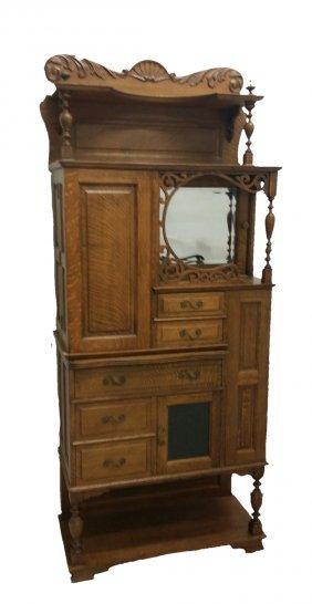 #109- Rare Tiger Oak Ransom And Randolph Dental Cabinet