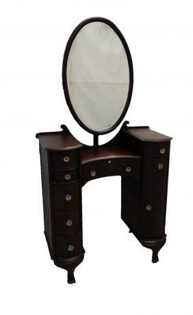 #247- Rare Mahogany Stick Mirror Vanity W/ Claw Feet 65