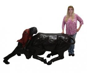 "#663- Large Size Bronze Matador And Bull 46"" X 40"" X 24"