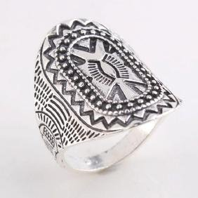 Rare Symbol Carving Silver Ring. Size: 9