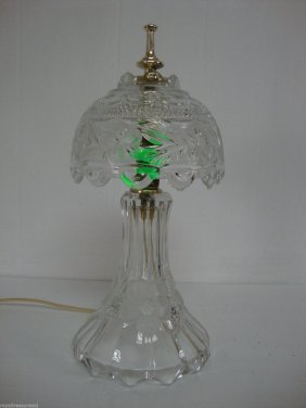 Frosted Glass Table Lamp Faceted Flower Design