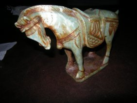 Large Ancient Antique Qing Dy Horse Hard Multi Green