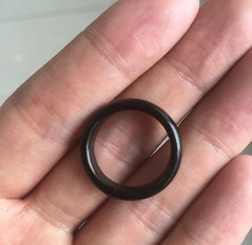 Natural Black Onyx Jade Hand-carved Ring Size 7