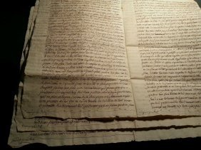 1787 Antique Big 12 Pages French Document