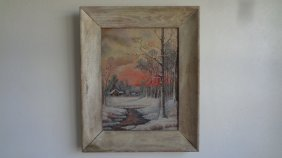Original Vintage Oil Painting On Canvas Board