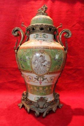Large Hand Painted Green Porcelain & Bronze Urn