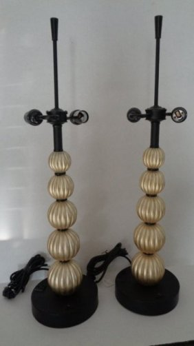 Pair Stacked Balls Designer Pearl Table Lamp