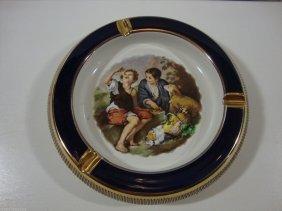 Porcelain Blue Cobalt Gold Trim Italy Scene Ashtray