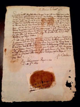 1684 Letter By Jean Barthelemy