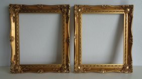 Pair Ornate Gold Leaf Wood Picture Frame