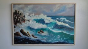 Original Oil Painting Signed Mollie Boyd 92 Sea Wave