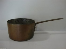 "Antique American-1800'heavy Cooper Brass Cook Pan 18"""