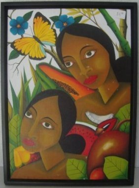 Colorful Hawaiian Lady Oil Painting On Canvas