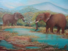Fran.b Original Blue Lake Forest Elephants