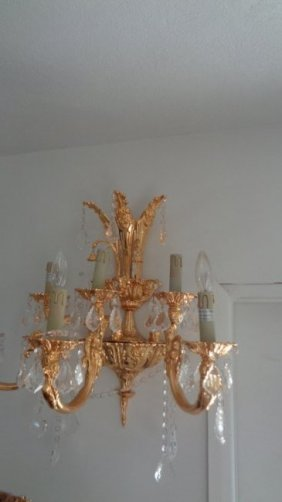 Pair Of French Wall Gilt Bronze Sconces