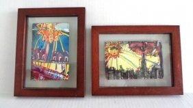 J. Rivera 2011 Signed Pair Original Paintings