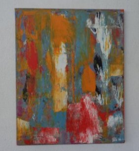 Modern Abstract Painting On Canvas Signed