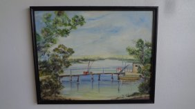Fisherman House Original Oil Painting On Canvas Board.