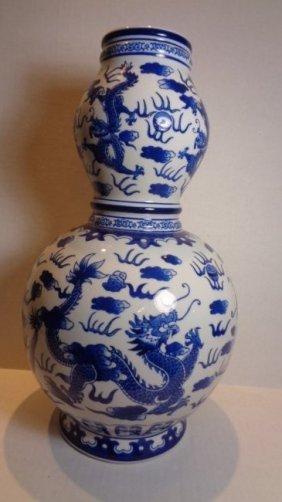 Chinese Ceramic Blue & White Double Gourd Shape Vase