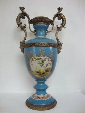 Blue Turquoise Porcelain Vase Lady Handle Bronze Mounts