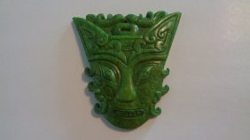 Large Chinese Natural Green Jade Face Amulet Pendant