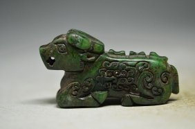 Exquisite Chinese Old Jade Hand Carved Green Small Dog