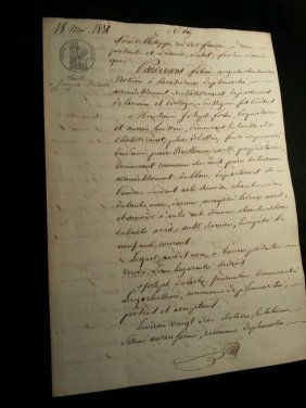 Antique Notary Document Composed On May 1838.