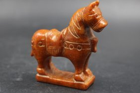 Old Chinese Hand Carved Jade Horse Figure