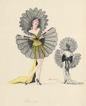 Modedarstellungen: Aquarelle Um 1940