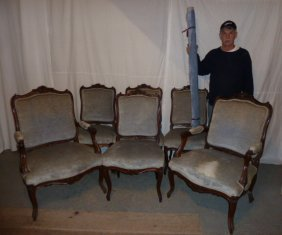 6 Antique Carved Walnut Dining Chairs Velvet Fabric