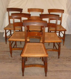 Six Matching Tiger Maple Chairs