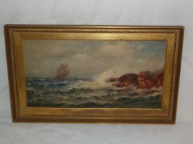 1900's Seascape Rocky Coastline J.c. Tyler