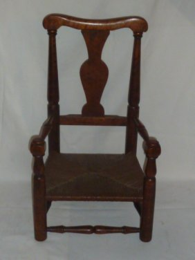 19th C. Period Child's Arm Chair Curly Maple