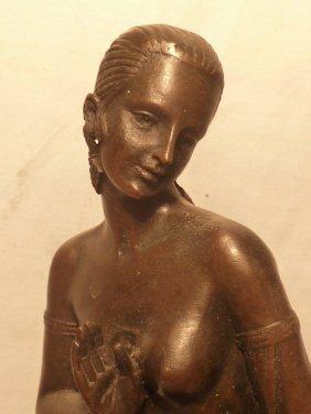 Bronze Semi-nude Woman Signed Joe Descomps