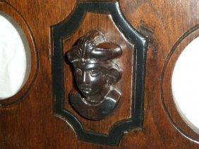 Walnut Victorian Clock Shelf W/columbus Head