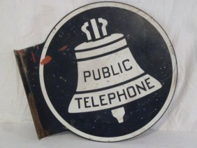 Bell Telephone Painted Metal Flange Sign