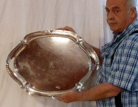 Sterling Silver Handled Serving Tray 24""