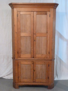 19th C. Corner Cupboard 2 Paneled Doors Over 2