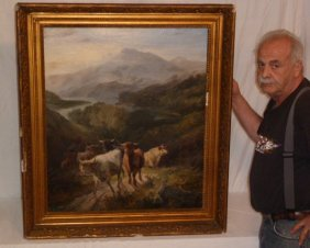 19th C. Henry Garland Oil Painting Highland Cows