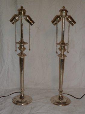 Pr Gorham Sterling Candlestick Lamps